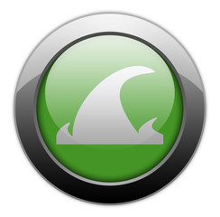 "Green Metallic Orb Button ""Tsunami"""