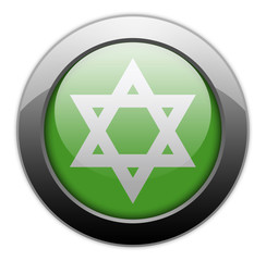 "Green Metallic Orb Button ""Star Of David"""