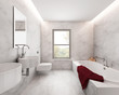 Minimal elegant luxury bathroom, white marble