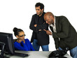 male bosses angry at female secretary