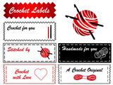 Crochet Labels, copy space, tatting, lace making, DIY fashion. poster