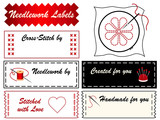 Needlework Labels, copy space, embroidery, applique, DIY fashion poster