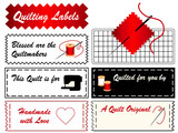 Quilting Labels, copy space, patchwork, applique, DIY fashion. poster