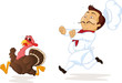 Chef running, trying to catch turkey