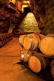 Fototapety wine barrels in a winery, France