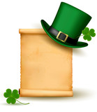 Saint Patrick Day card with clove leaf and green hat