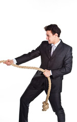 young successful and respectable businessman with a rope