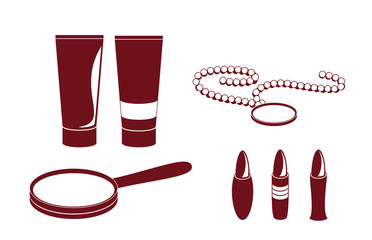Accessory icons - tubes, lipsticks, hand mirror and beads