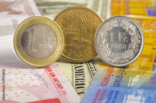 euro, dollar, franc currency