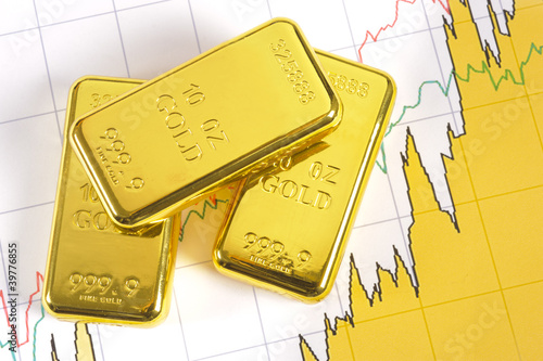 three gold bars on chart - 39776855