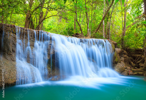 Deep forest Waterfall, Kanchanaburi, Thailand - 39777415