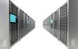 Servers. Row of Server Racks. White background.