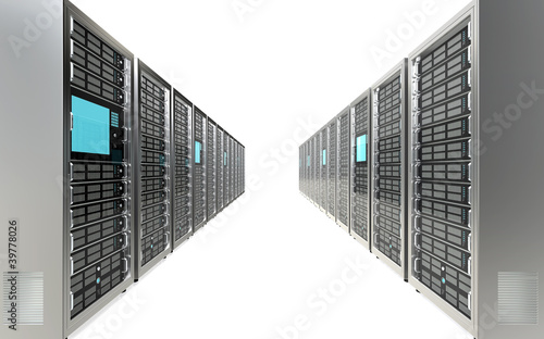 Servers. Row of Server Racks. White background.