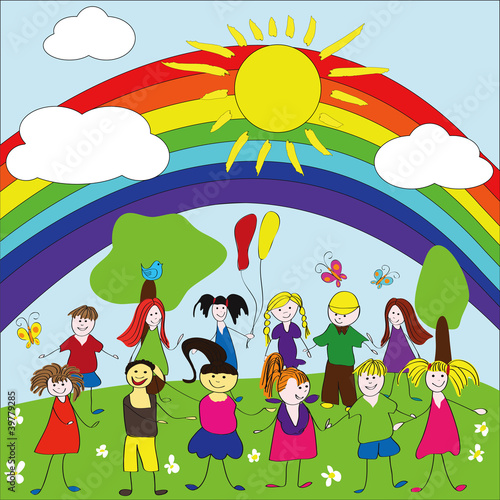 Poster Regenboog Merry children background with rainbow