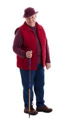 Fröhliche Seniorin mit Wanderstock