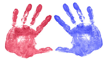 red and blue hand prints isolated on white