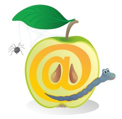 """""""Half of apple with a worm.@"""""""