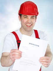 Young worker is proud about his employment agreement
