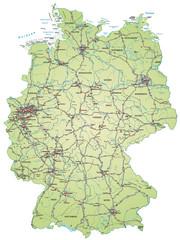 Landkarte von Deutschland mit Autobahnen