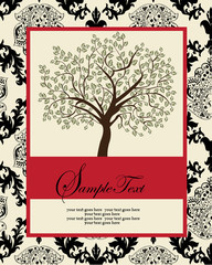 invitation card with abstract floral background