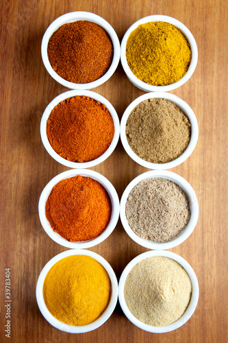 Spices in ramekins.