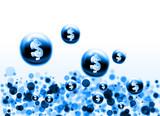blue dollar bubbles