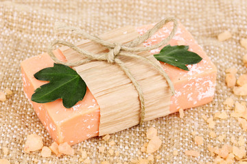 Hand-made natural soap on sackcloth