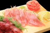 sashimi maguro on a board