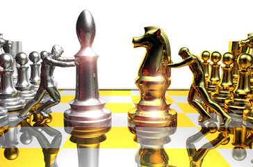 3D People - Silver & Gold Chess
