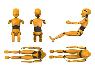 3d render of car test dummy - child