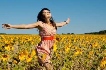 beautiful woman  runs on a glade
