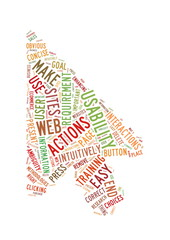 Web Usability word cloud arrow shape