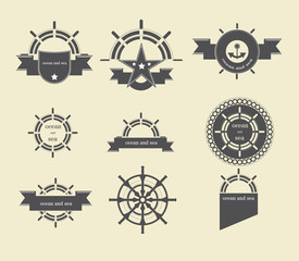 Collection of vintage ocean and sea labels and stamp vector