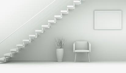 Modell - Sessel unter Treppe