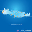 Island of Crete in Greece map