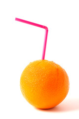 Orange with straw