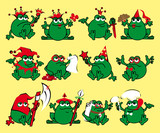 Twelve royalty cartoon frogs. Print for a T-shirt poster