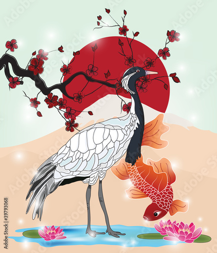 oriental picture with crane and koi