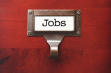 Lustrous Wooden Cabinet with Jobs File Label poster