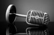 Retro microphone on grey