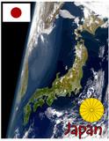 asia japan map flag emblem poster