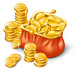 Wallet full of coins