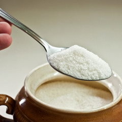 Spoon with a white drug