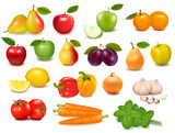 Fototapety Big collection of fruits and vegetables  Vector