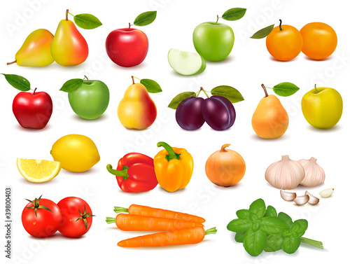 Big collection of fruits and vegetables  Vector