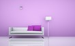 Wohndesign - weisses Sofa vor rosa Wand