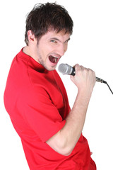 Man singing into the microphone