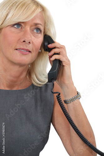 Middle-aged woman on the phone