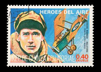 Equatorial Guinea, circa 1974 - WW1 pilot Edward Mannock