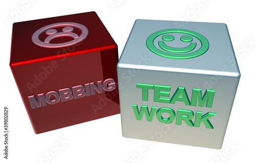 3D Doppelwürfel - MOBBING - TEAMWORK
